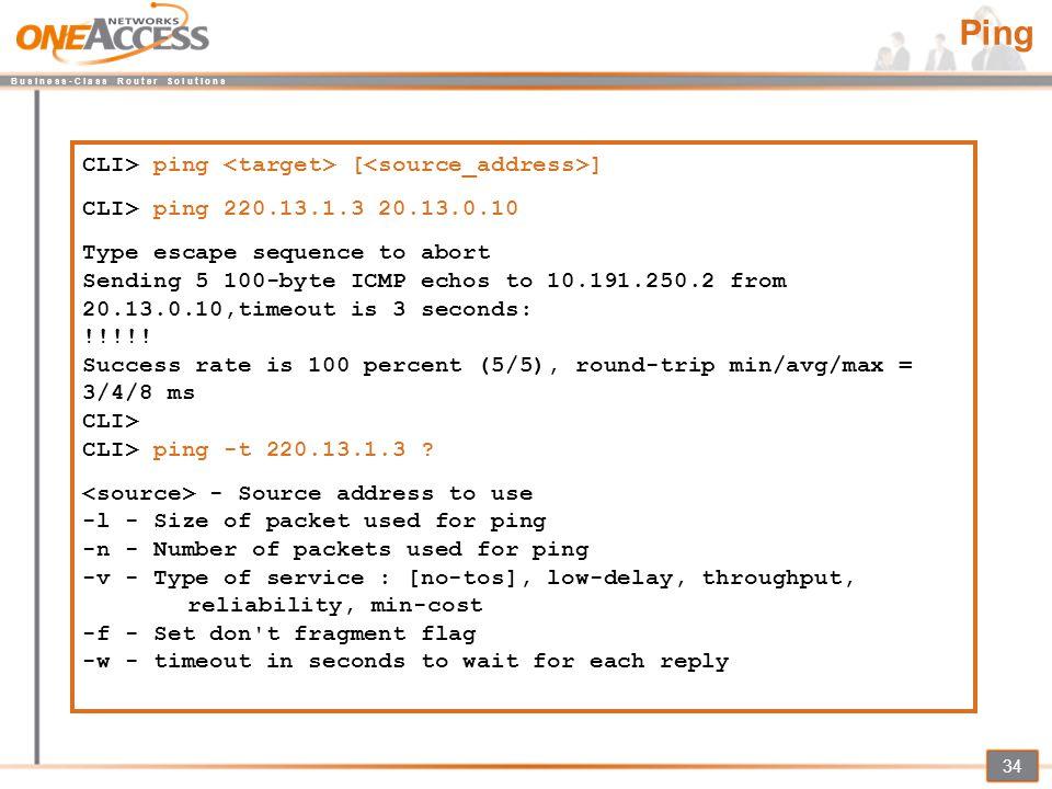 Ping CLI> ping <target> [<source_address>]